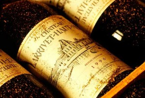 Old bottles of french wine.