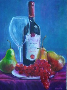 A paining of Spanish wine with grapes and pears